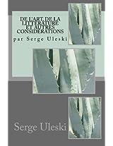 de l'Art, de la littérature et autres considérations: par Serge Uleski