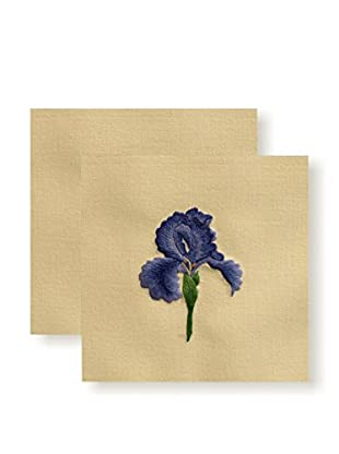 Henry Handwork Set of 2 Iris Embroidered Hand Towels, Natural