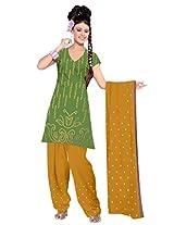 Kala Sanskruti Women's Cotton Satin Bandhani Green Dress Material
