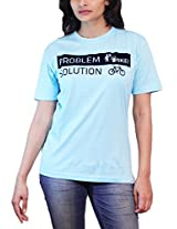 THESMO Women's Round Neck Cotton T-Shirt, Blue, L