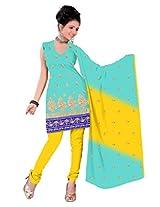 vardhman Turquoise Chanderi Straight Dupata Work Dressmaterial Suit.