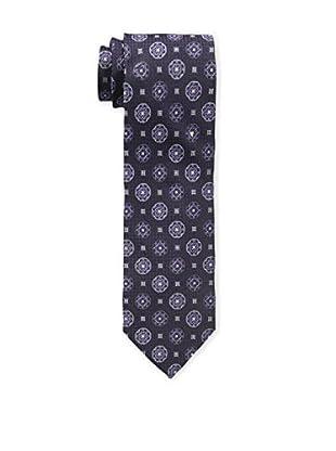 Bruno Piattelli Men's Medallion Silk Tie, Purple Charcoal