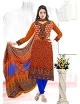 Saara Orange And Blue Printed Dress Material - 139D111