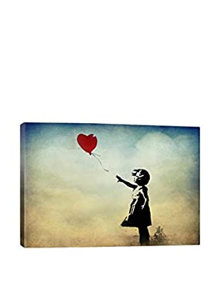 Banksy Girl With A Balloon Watercolor Gallery Wrapped Canvas Print