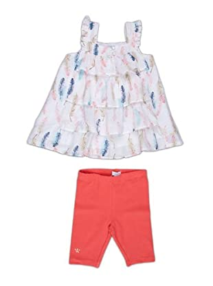 Naf Naf Chevignon Conjunto vestido / leggings (blanco / coral)