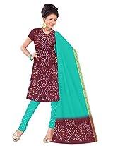 Kala Sanskruti Women's Cotton Silk Blend Maroon Dress Material