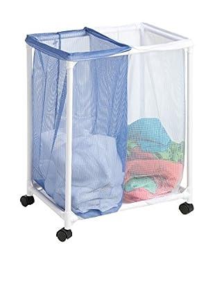 Honey-Can-Do 2 Bag Mesh Laundry Sorter, White/Blue