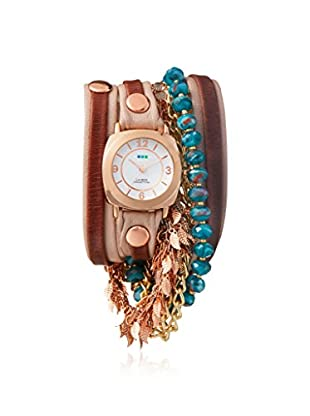 La Mer Collections Women's Nude/Brown/White Genuine Italian Leather Watch