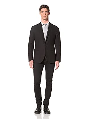 Edun Men's One Button Seersucker Jacket (Black)