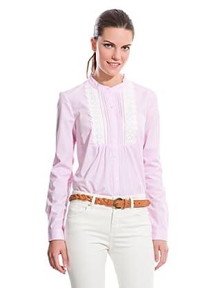 Cortefiel Camisa Pechera Guipur (Rosa)