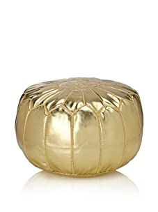 Hand-Stitched Leather Pouf (Gold)