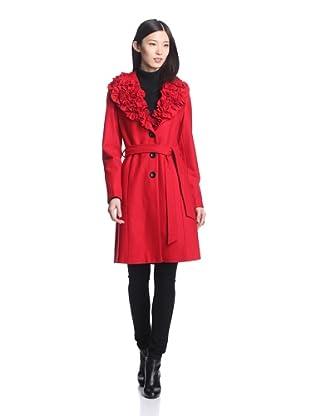 Dale Dressin Women's Ruffle Collar Coat (Red)