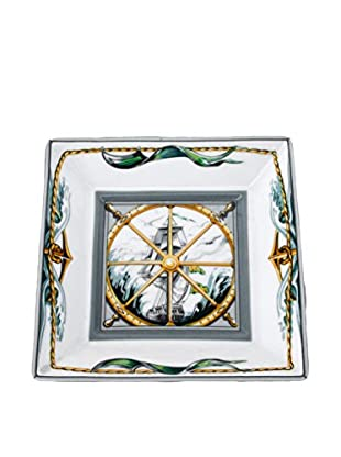 Hermès Dish with Sailing Ship in Wheel, White/Green/Aqua/Yellow