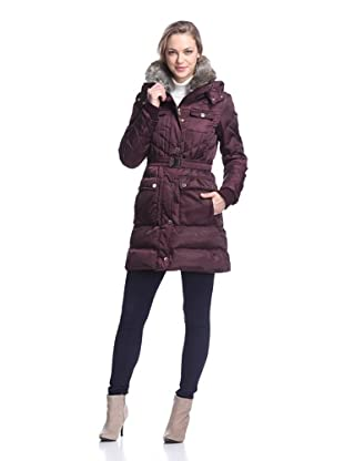 Ivanka Trump Women's Belted Puffer with Faux Fur Collar (Burgundy)