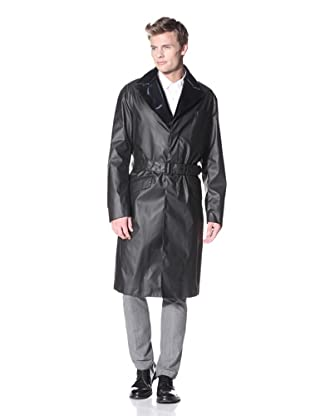 Prada Spalmato Coated Trench with Layered Collar (Black)