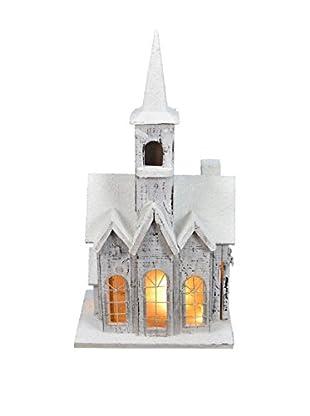Snow Church Birdhouse with Light