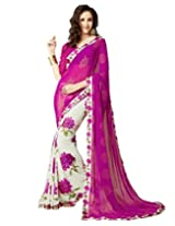 Roop Craft Women's Faux Georgette Saree with Blouse Piece(RCS24_Pink)