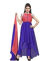 Suchi Womens Net Anarkali Salwar Suit Sets (Sfdnr10693 _Royal Blue And Peach _Free Size)
