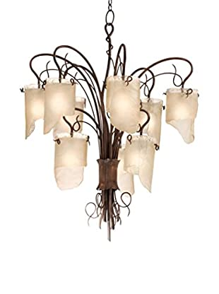 Varaluz Soho 9-Light Chandelier, Hammered Ore/Brown Tint Ice Glass