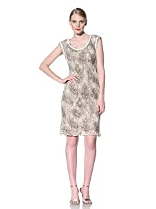 Muse Women's Snake Print Crochet Lace Sheath Dress (Khaki)