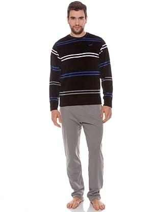 Abanderado Pijama Double Stripes (Negro Rayas / Gris)