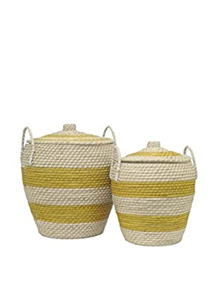 Three Hands Set of 2 Cobra Baskets, Yellow