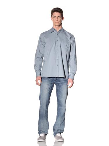Earnest Sewn Men's Long Sleeve Button-Up Shirt (Insignia Blue)