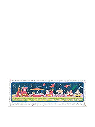ArtopWeb Panel de Madera Musante Sono Salito Sul Treno… 35x100 cm