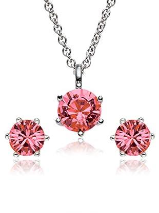Saint Francis Crystals Set, 3-teilig Kette und Ohrstecker Made With Swarovski® Elements silberfarben/rosa