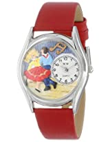 Whimsical Watches Women's S0510007 Square Dancing Red Leather Watch