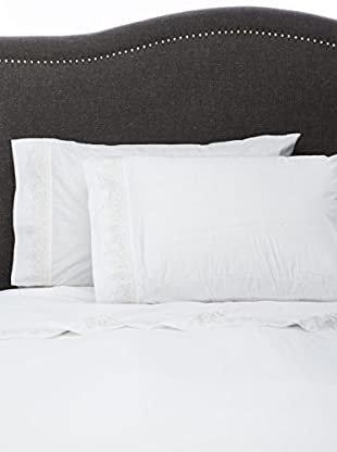 Mélange Pair of 300 TC Egyptian Cotton Percale Baby's Breath Embroidery Pillowcases, Gardenia Ivory, Standard