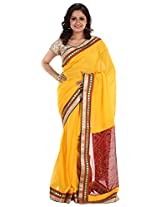 Aadya Fashions Women's Georgette Saree (Yellow)