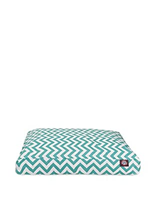 Chevron Small Rectangle Pet Bed, Teal