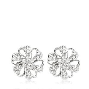 Emaira Sterling Silver, Swarovski Crystal, Platinum Finished, Beautiful Ear Ring