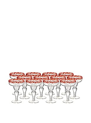Artland Mingle Set of 12 Margarita Glasses, Red