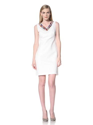 Ellen Tracy Women's Beaded V-Neck Shift Dress (Cream)