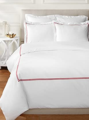 Melange Home 600 Thread Count Two Stripe Embroidered Duvet Set