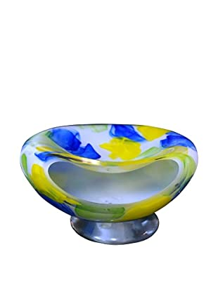Meridian Glass Hand-Blown Watercolor Bowl Aqua/Yellow/Lime