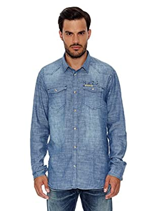 Pepe Jeans London Camisa Hombre Seaton (Azul Medio)