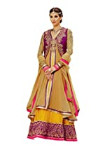 CrazeVilla women georgette party wear anarkali suit ( CVKM_911_Brown_Free Size)