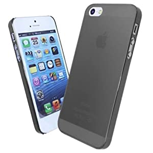 Frosted 0.5mm Thick Transparent Case Cover for Apple iPhone 5 5s 5g - Black