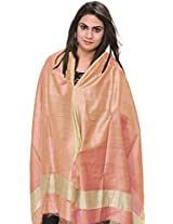 Exotic India Plain Dupatta from Jharkhand with Woven Stripes on Border - Color Peach NougatColor Free Size
