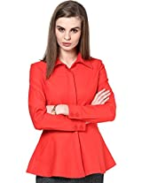 The Gud Look Women's Cotton/Spandex Jacket(10002538-M,Red,M)
