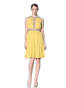 Naeem Khan Women's Cocktail Dress with Beaded Neckline (Yellow)