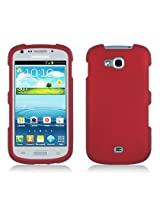 Eagle Cell Protector Cover Snap-On Hard Rubber Case for Samsung Galaxy Axiom/Admire 2/R830 - Retail Packaging - Red