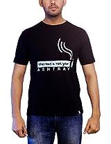 THESMO Unisex Round Neck T-Shirt, Black, XXL