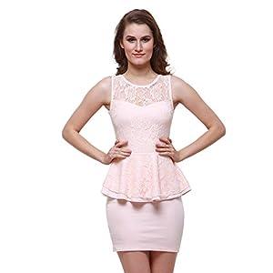 Oshea Women's Hoisery Stretch Peplum Tunic Dress (Pink)
