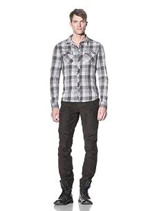 Rogue Men's Plaid Snap-Front Shirt (Light Grey Plaid)