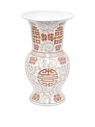Three Hands Rounded Red/White Ceramic Vase