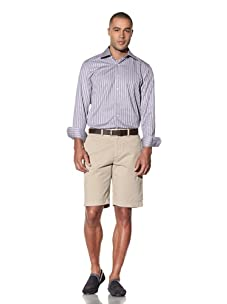 Report Collection Men's Jacquard Satin Stripe Button-Front Shirt (Lilac)